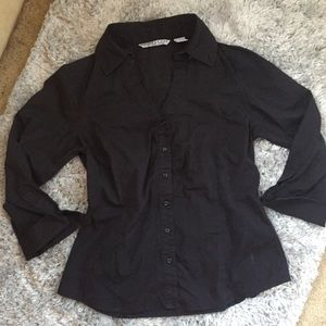 Signature By Larry Levine Black Button Down